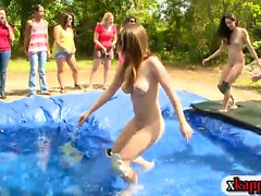 Rushes wrestled in homemade pool and blowjob outdoors