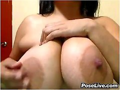 Stunning busty brunette with big ass shows her gorgeous body
