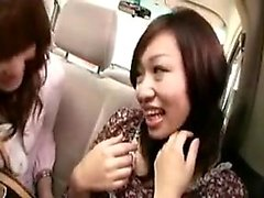 Three beautiful Japanese ladies have fun with their favorit