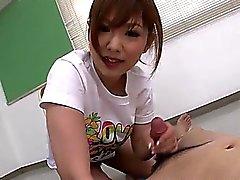 Cute and kinky Miku Airi gives her guy a footjob