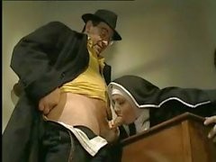 Naughty nun eats his cock and then gets her ass nailed hard