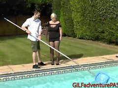 Pool Guy Hammering at Blonde GILF