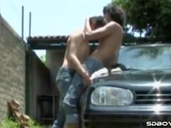 Três, meninos, lavando, car