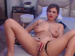 Addison toying her shaved pussy in sexy stockings