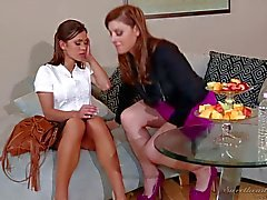 Adorable brunettes Alyssa Reece and Sovereign Syre make out