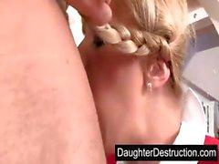 Blond schoolgirl fucked hard