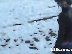Norway girl fingering in snow