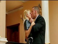 Sexy blonde maid, Sarah in latex sucks and fucks the limo driver's cock