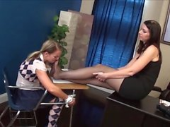 Teacher pantyhose worship slave