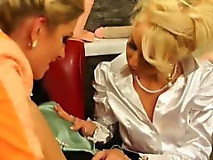 Glam clothed lesbo toyed and fingered