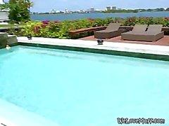 Brunette Lesbian Threesome In Swimming Pool