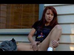 Annabelle Lee fingering herself outside