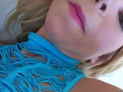 Teen blonde in Blue Alina West shows Her tits
