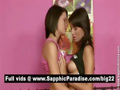 Sensual brunette lesbians kissing and licking nipples and having lesbian sex