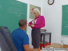 Mature blonde Kasey Grant rides on her student rocco
