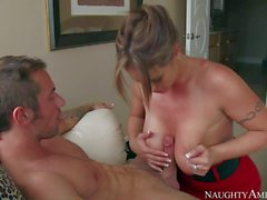 MILF Eva Notty with outstanding huge melons is his dad's
