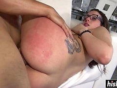Nerdy Nina gets fucked by a friend