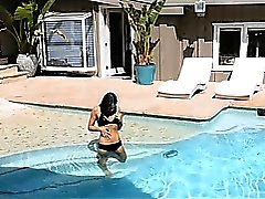Sara loves passionate sex by the poolside