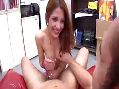 Super hot handjob by redhead teen hottie