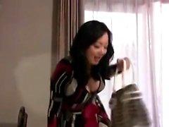 Busty Asian does handjob and blowjob