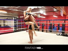 Hot girl in gym lusts after fighter stud and wants to go