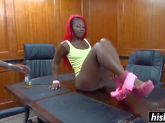 Red haired ebony rode a cock