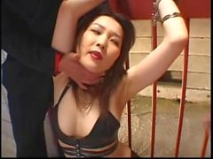 Kinky Japanese in leather getting soiled in schlong juice