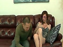 Sexy slim shemale gets her feet sucked
