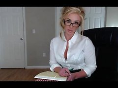 Attractive assistant shows her h and stripteasing in-office