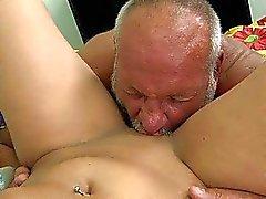 Teen enjoying sex with ugly grandpa