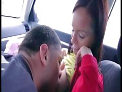 Brunette gets played with in the car and then gets drilled hard