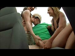 Two hot chicks give nice thick cock hj cs in jeep