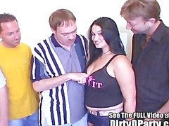 Big Titty Teen Gets A 5 Cock Gang Bang