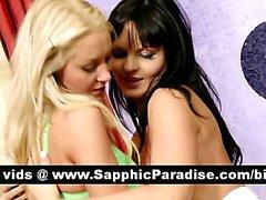 Lezbiyen seks öpüşme ve sahip Sıcak sarışın ve esmer lesbos