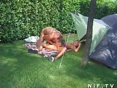 French amateur having sex outdoor