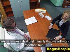 Busty salesagent cumsprayed on doctor desk