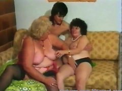 Vintage old couple love threesome