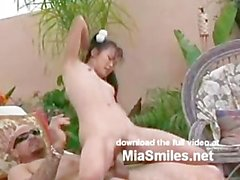 Mia Smiles ponytail poolside pounding