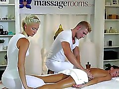 Couple of masseurs gangbanging brunette