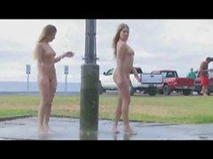Public shower lesbian show