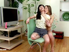 Sharing Sweeties by Sapphic Erotica lesbian love porn with Ashlie Karlie