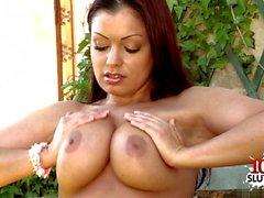 Big tits pornstar outdoor with cumshot