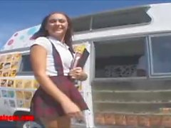 icecream truck schoolgirl gets more than icecream in pigtails