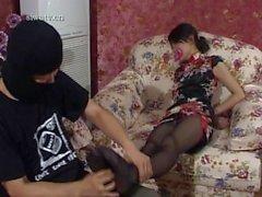 Asian pantyhose feet tickling and bondage
