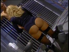 Hot blonde guard with nice tits rides guys face in jail cell
