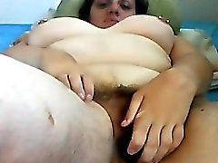 Fat And Hairy Housewife Masturbates