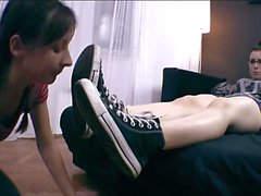 Lesbian slave worshiping shoes, socks and feet!2.mp4