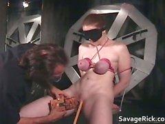 Nasty brunette Catherine is sex slave