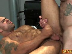 Muscle bear dildo and anal cumshot