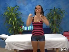 Cute curvy teen massaged after stripping